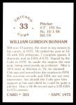 1976 SSPC #303  Bill Bonham  Back Thumbnail