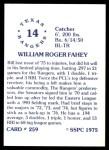 1976 SSPC #259  Bill Fahey  Back Thumbnail