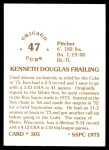 1976 SSPC #305  Ken Frailing  Back Thumbnail