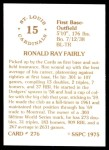 1976 SSPC #276  Ron Fairly  Back Thumbnail