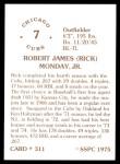 1976 SSPC #311  Rick Monday  Back Thumbnail