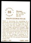 1976 SSPC #352  Ralph Houk  Back Thumbnail
