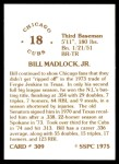 1976 SSPC #309  Bill Madlock  Back Thumbnail