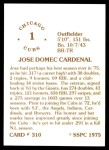 1976 SSPC #310  Jose Cardenal  Back Thumbnail