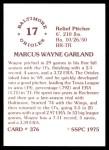 1976 SSPC #376  Wayne Garland  Back Thumbnail