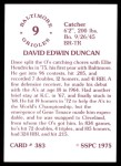 1976 SSPC #383  Dave Duncan  Back Thumbnail