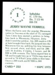 1976 SSPC #222  Jerry Terrell  Back Thumbnail