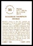 1976 SSPC #345  Woodie Fryman  Back Thumbnail