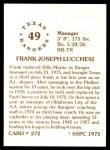 1976 SSPC #272  Frank Lucchesi  Back Thumbnail