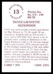 1976 SSPC #374  Doyle Alexander  Back Thumbnail