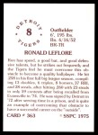 1976 SSPC #363  Ron LeFlore  Back Thumbnail