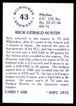1976 SSPC #248  Rick Austin  Back Thumbnail