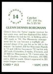 1976 SSPC #213  Glenn Borgmann  Back Thumbnail