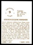 1976 SSPC #319  Steve Swisher  Back Thumbnail