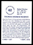 1976 SSPC #227  Tom Murphy  Back Thumbnail