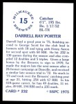 1976 SSPC #232  Darrell Porter  Back Thumbnail