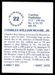 1976 SSPC #231  Charlie Moore  Back Thumbnail