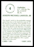 1976 SSPC #201  Joe Lahoud  Back Thumbnail