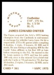 1976 SSPC #341  Jim Dwyer  Back Thumbnail
