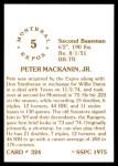 1976 SSPC #324  Pete Mackanin  Back Thumbnail