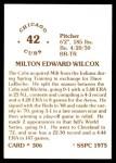 1976 SSPC #306  Milt Wilcox  Back Thumbnail