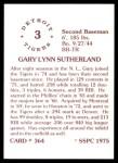 1976 SSPC #364  Gary Sutherland  Back Thumbnail