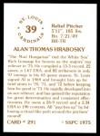 1976 SSPC #291  Al Hrabosky  Back Thumbnail