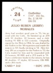 1976 SSPC #312  Jerry Morales  Back Thumbnail