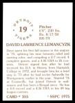 1976 SSPC #355  Dave Lemancyzk  Back Thumbnail