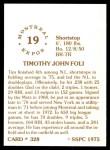 1976 SSPC #328  Tim Foli  Back Thumbnail