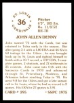 1976 SSPC #295  John Denny  Back Thumbnail