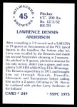 1976 SSPC #249  Larry Anderson  Back Thumbnail