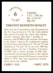 1976 SSPC #313  Tim Hosley  Back Thumbnail