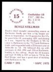 1976 SSPC #393  Royle Stillman  Back Thumbnail