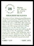 1976 SSPC #219  Bert Blyleven  Back Thumbnail