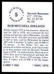 1976 SSPC #256  Bob Sheldon  Back Thumbnail