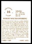 1976 SSPC #320  Rob Sperring  Back Thumbnail