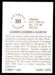 1976 SSPC #356  Lerrin LaGrow  Back Thumbnail
