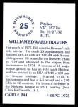 1976 SSPC #244  Bill Travers  Back Thumbnail