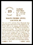 1976 SSPC #317  Pete LaCock  Back Thumbnail