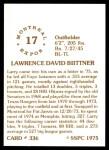 1976 SSPC #336  Larry Biittner  Back Thumbnail