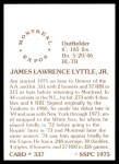 1976 SSPC #337  Jim Lyttle  Back Thumbnail