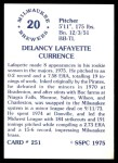 1976 SSPC #251  Lafayette Currence  Back Thumbnail