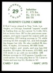 1976 SSPC #214  Rod Carew  Back Thumbnail