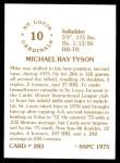 1976 SSPC #283  Mike Tyson  Back Thumbnail