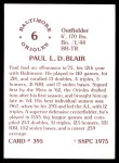 1976 SSPC #395  Paul Blair  Back Thumbnail