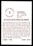1976 SSPC #396  Al Bumbry  Back Thumbnail