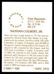 1976 SSPC #330  Nate Colbert  Back Thumbnail