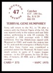 1976 SSPC #373  Terry Humphrey  Back Thumbnail