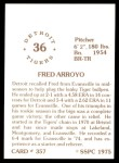 1976 SSPC #357  Fred Arroyo  Back Thumbnail